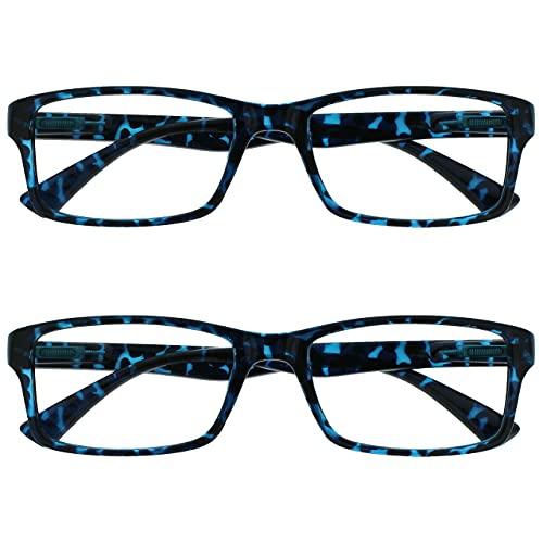 The Reading Glasses Company Die Lesebrille Unternehmen Blau Schildpatt Leser Wert 2er-Pack Designer Stil Herren Frauen RR92-3 +3,50