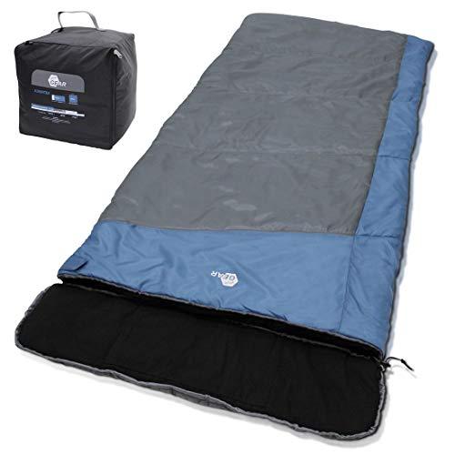 your GEAR XXL Schlafsack Sumatra -7°C Warmer Deckenschlafsack 230x100 cm 3-4 Jahreszeiten Futter aus 100% Baumwolle Blau Grau