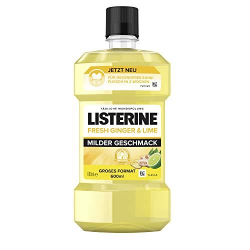 Listerine frash ginger & lime, Milder Geschmack, Mundspülung mit natürlichem Ingwer- und Limettenextrakt, 600 ml, 26858