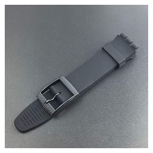 WNFYES 16mm 17mm 19 mm 20 mm Silicone Strap Watch Band Soft Goma Reemplazo Reloj Pulsera de la muñeca Correa de Silicona (Band Color : Black, Band Width : 20mm)