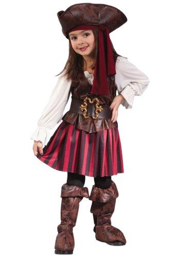 Forever Young Mädchen Karibik-Piratenkostüm, Seeräuber Gr. 3-5 Jahre, braun