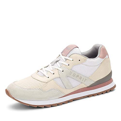 ESPRIT 030EK1W344 110 Astro LU Damen Sneaker aus Veloursleder Textilausstattung, Groesse 40, weiß