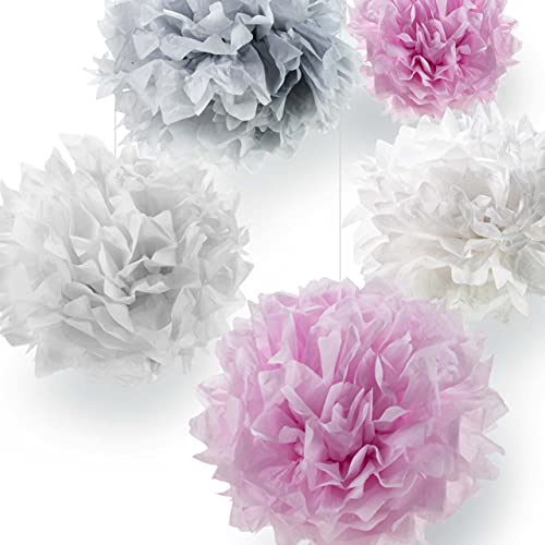 Pumpko® Decor 10er Seidenpapier Pompons Deko-Set   Dekoration für Ihre Hochzeit und Party   Rosa Hellgrau Weiß   Inklusive Ponpon PDF Aufbauanleitung
