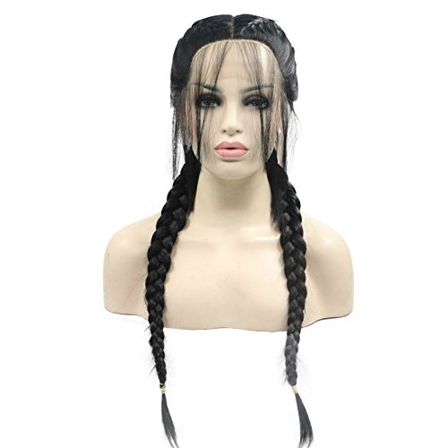 Sylvia 1B# Black 2 Ponytail Braiding Synthetic Lace Front Wigs with Baby Hair Natural Braids Heat Resistant Fiber Hair for Woman Replacement Wig