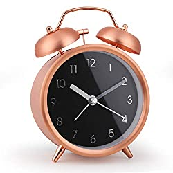 Loud Alarm Clock, 4 Inch Classic Double Twin Bell Alarm Clock, Silent Non-Ticking Battery Operated Tabletop Desk Alarm Clock for Bedroom(Rose Gold)