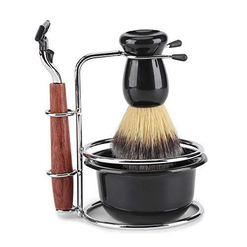 Set de Rasage Blaireau Manuel 4 en 1 Set Rasoir à main pour homme avec la Poignée en Bois et Rasoir brosse Bol de rasage et Support en acier inoxydable pour Homme Brosse
