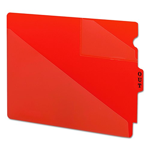 Smead 61960 Out Guides with Diagonal-Cut Pockets, Poly, Letter, Red (Box of 50)