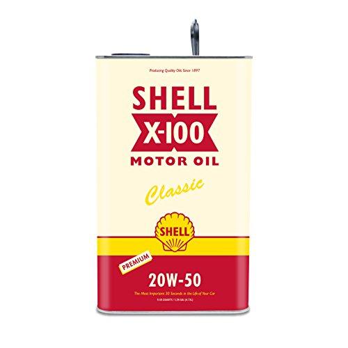 Shell X-100 Classic Car Motor Oil 20W-50 with Zinc, 5-Quart SH-39505-01, Yellow, 160 fl. oz, 1 Pack