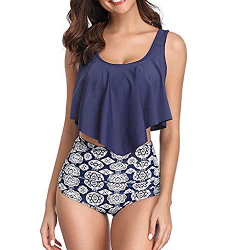 QingJiu Damenmode Push Up Rückenloser Bikini Hohe Taille Halfter Blumendruck Bademode Böhmen Zweiteiliger Badeanzug Plus Size Beachwear Set