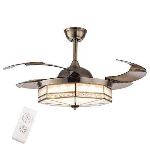 Ventilador de techo Tiffany Remote de 100 cm con luz, moderno ventilador de techo retráctil, luz para interiores, comedor, restaurante, dormitorio, 3 cambios de color