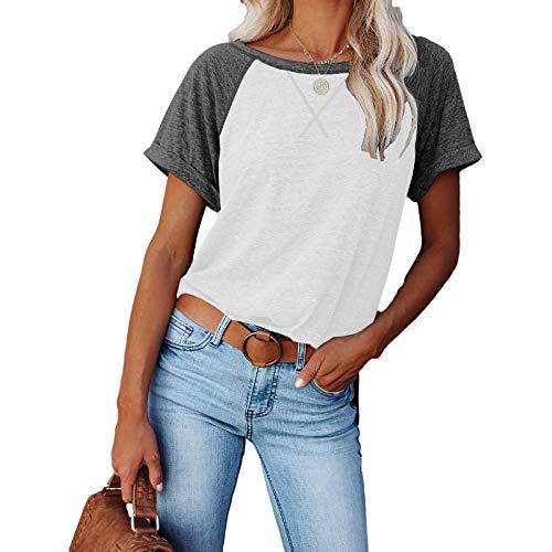 DREAMING-Chaqueta Suelta Superior para Mujer de Primavera y Verano Sudadera con Estampado Cruzado de Color a Juego Camiseta Casual de Manga Corta Suelta L