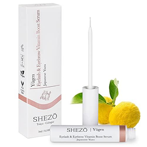 SHEZO Wimpernserum 3ml Natürliches Serum für Wachstum von Wimpern & Augenbrauen - Japanische Superfrucht Yuzu - Vitamin-C Wimpernverlängerung Serum Vegan - Made in Germany