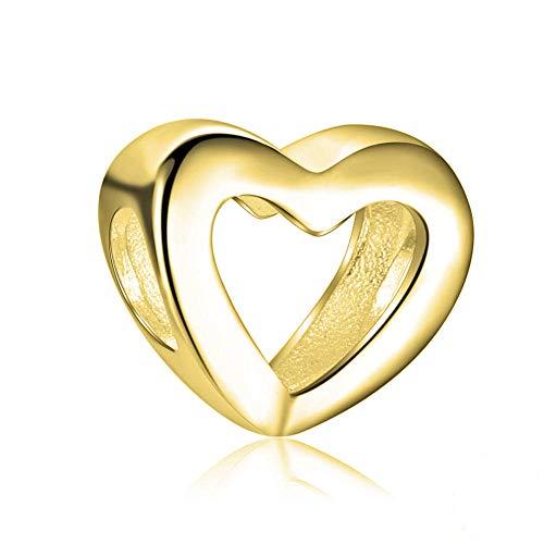 Andante-Stones 14K Gold Bead Charm Herz Element Kugel für European Beads Modul Armband + Organzasäckchen