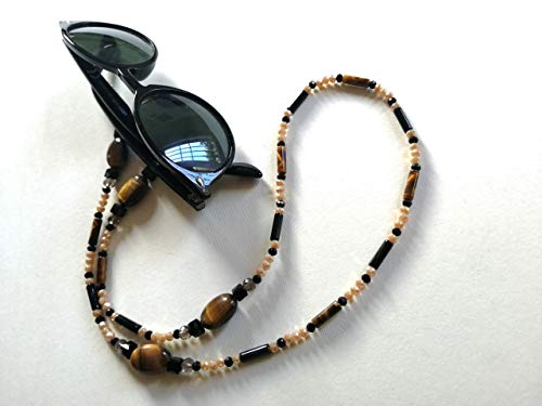 Eyeglass Chain that Turns into a Necklace - 2 in 1! -Sun Glasses Cord with Semi Precious Natural Stones - Tiger's Eye, Onyx - Comfortable and Original Gift Idea for Woman