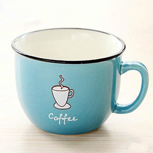 LANKOULI Schöne Paare Cartoon Kaffeetassen Keramik Haushalt Latte Milch Reisebecher Festival Geschenke-Blau_220ML