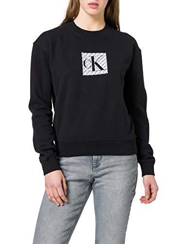 Calvin Klein Jeans Hologram Logo Crew Neck Maglione, CK Nero, XS Donna