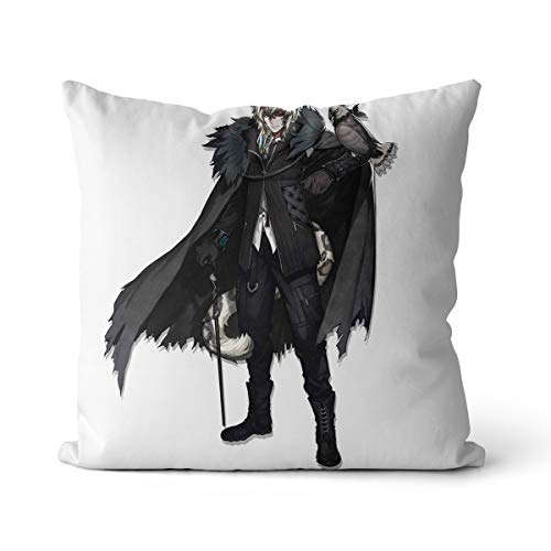 Arknights - Funda de cojín decorativa, color gris plateado, 1 funda de cojín de algodón holandés, para sofá, coche, dormitorio, 35 x 45 cm