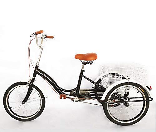 WUPYI2018 20 Zoll Dreirad Für Erwachsene,3 Räder Single Speed Dreirad Trike Cruise Bike mit Einkaufskorb,Entwickelt für ältere Menschen