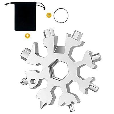 BQB 18-in-1 Stainless Steel Snowflake Multi-Tool Stainless Steel Snowflake Keychain Tool Snowflake Screwdriver /Bottle Opener/Gift for Men (silver)