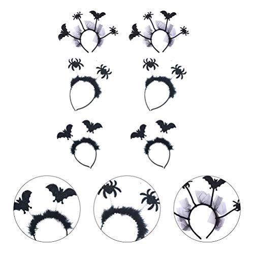 EXCEART 6 Stück Halloween Stirnband Kopfbedeckung Kopfschmuck Haarschmuck Fledermaus Spinne Haar Hoop für Halloween Party