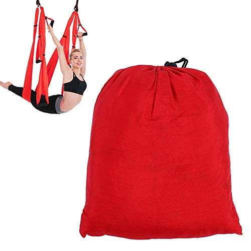 Draagbare Aerial Yoga Swing Set, Aerial Swing Sling Hammock Indoor Anti Gravity Inversion Prop Tools, Yoga Swing/Sling/Inversion Tool, Yoga Hangmat(Rood)