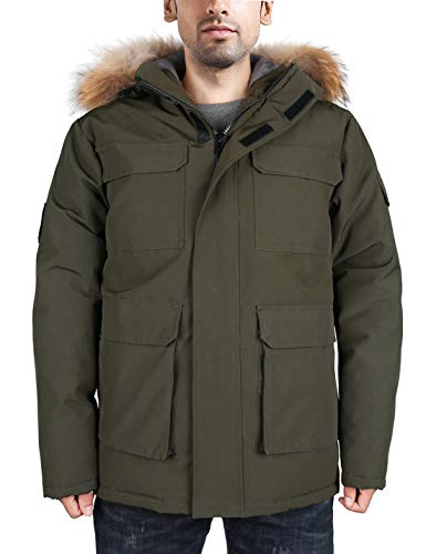 HARD LAND Heren Gans Down Parka Winter Jassen Arctic Expedition Jas Waterdichte Warmest Bovenkleding met Bont Hood