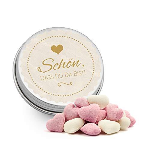 DeinBonbon 20x Gastgeschenk Mini Dose DIY Süßigkeiten und Stickerbogen | Hochzeit, Geburtstag, Taufe & Kommunion (Creme, Himbeer Joghurt Herzen Bonbons)