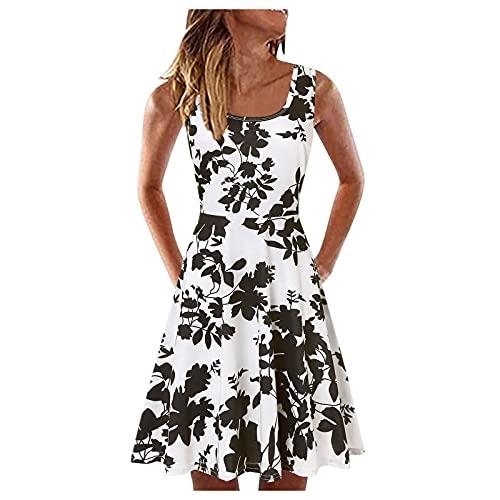 Sommerkleid Damen Strandkleid Knielang Kleider Rundhals Kurzes Blume Drucken High Waist A-Linie Minikleid Ärmellos Bedrucktes Sommer Elegant Strandkleider