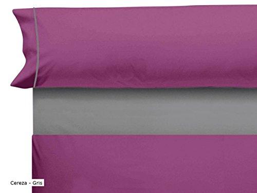 CAÑETE – Taie d'oreiller Lisa avec Vif lit 80 – Blanc/Bleu Lit 180 cm Rouge Cerise/Gris
