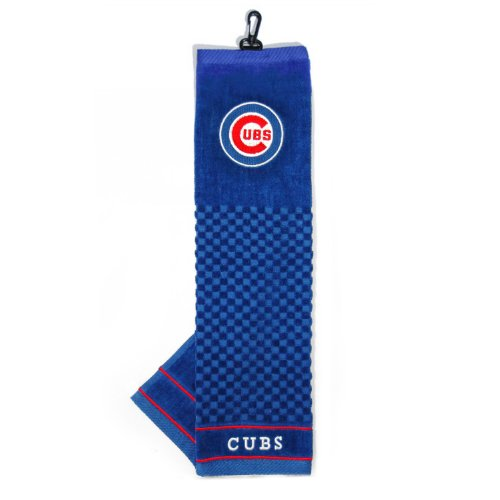 Team Golf MLB Chicago Cubs Embroidered Golf Towel, Checkered Scrubber Design, Embroidered Logo