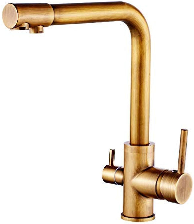SEBAS Home Wasserhhne Kupfer Antikes Kupfer Farbe Dual-Use Reines Wasser Doppelkopf Küchenarmatur Sink Dish Warmes und kaltes Wasser