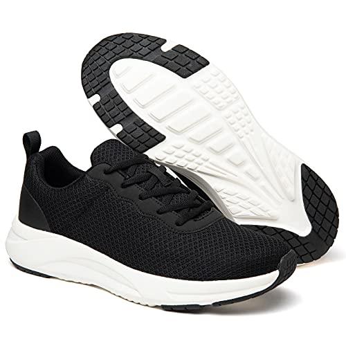 Zapatillas de correr para hombre y mujer, para gimnasio, fitness, correr, deportes, casual, con espuma viscoelástica, negro y blanco, 45 EU
