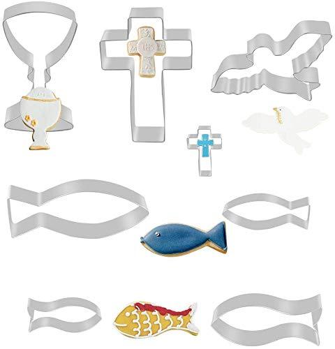 WENTS - Juego de 9 moldes para galletas, diseño de pez y comunión