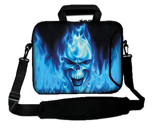 Luxburg - Bolsa-Bandolera, Funda de protección para Ordenador portátil, Flexible, con asa, 14 Pulgadas, diseño de cráneo Azul