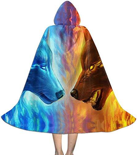 Romance-and-Beauty Capa para nios con Capucha Ice Vs Fire Wolf Unisex Magia Navidad Halloween Fiesta de Brujas con Capucha Vampiros Capa de Boda Capa