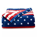 The Big One Oversized Supersoft Plush Throw Blanket Americana American Flag Design 5' x 6' Size