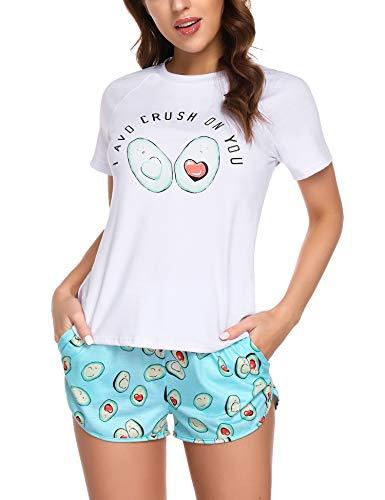 Doaraha Pijama Corto Mujer Estampado Gráfico Ropa de Dormir Verano Camiseta Manga Corta con Pantalones Cortos Bolsillo Conjunto de Pijamas Algodón Suave y Transpirable Dos Piezes (Blanco y Verde, M)