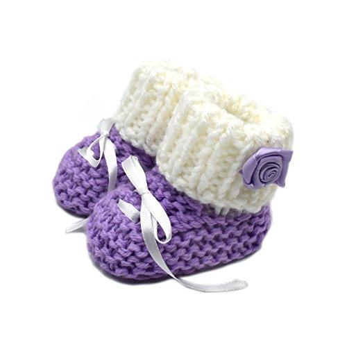 Magic Needles handgemachte handgestrickte Häkelgarn türkische Babywolle Winterstiefel, Violett - violett - Größe: 0-3 monate