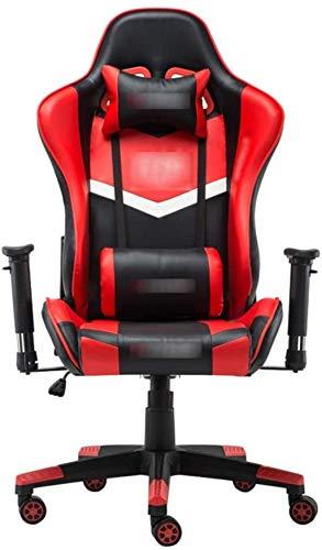 Gamingstuhl Ergonomischer Drehstuhl Racing Gaming Leather Justierbarer Recliner Bürostuhl Rennstuhl Sessel (Color : Red, Size : 70X70X127CM)