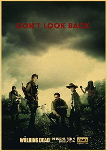 xmydeshoop Serie de TV clásica de Zombies The Walking Dead Estilo Retro Arte Familiar Bar cafetería decoración de Pared póster de Papel 50x70cm No Frame PQ-1619