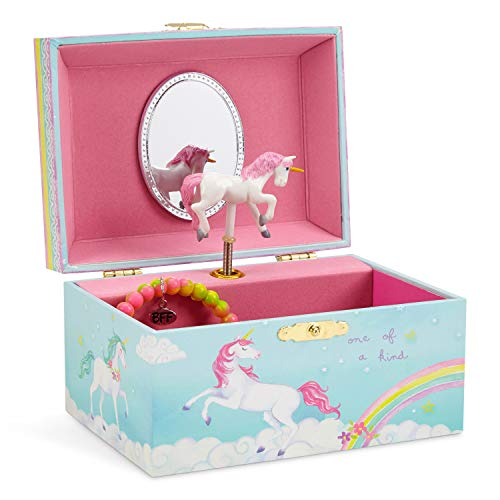 Jewelkeeper Girl's Musical Jewelry Storage Box with Spinning Unicorn, Rainbow Design, The Unicorn Tune