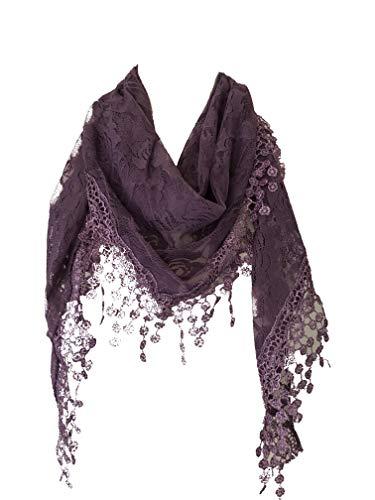 Lila Rosen entwirft Spitze Dreieckstuch. eine schöne Mode. Fantastische Geschenk (Purple roses designs lace triangle scarf. a lovely fashion item. Fantastic Gift)