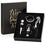 Wine Opener Set with Gift Box. Accessories Kit with Corkscrew, Foil Cutter, Bottle