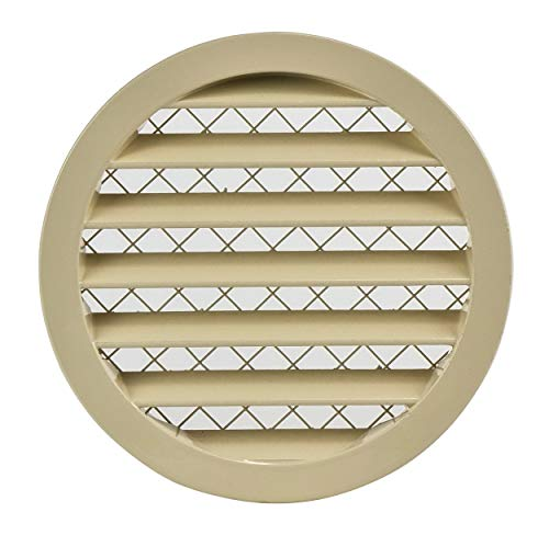 Griglia di ventilazione in alluminio da 160 mm, rotonda, colore beige, griglia di ventilazione