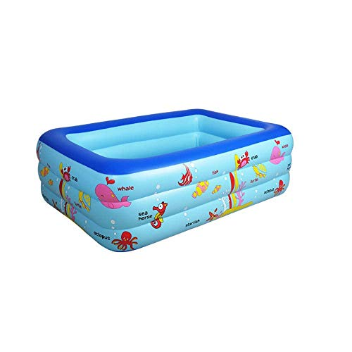 CHHD Aufblasbare Pools Umweltschutz PVC Kinder aufblasbares Schwimmbad Cartoon Ozean Baby nach Hause Baden 130 * 85 * 55 rechteckige aufblasbare Familie