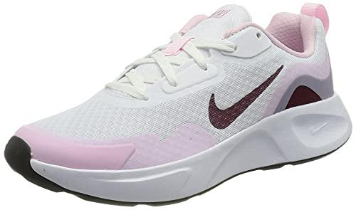 Nike WearAllDay, Scarpe da Ginnastica, White/Dark Beetroot-Pink Foam, 26 EU