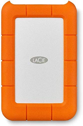 LaCie Rugged USB-C 2 TB External Hard Drive Portable HDD – USB 3.0 Compatible, Drop Shock Dust Rain Resistant, for Mac & PC Computer Desktop Workstation Laptop, 1 Month Adobe CC (STFR2000800), Orange