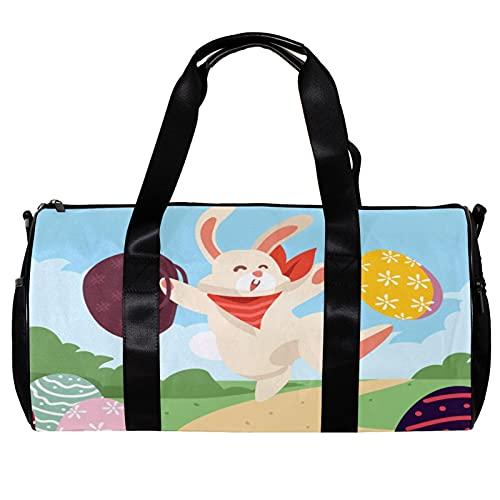 Borsone per le Donne Uomini Felice Pasqua Coniglio Uovo Coniglio Sport Palestra Tote Bag Weekend Pernottamento Borsa Da Viaggio All'aperto Bagagli
