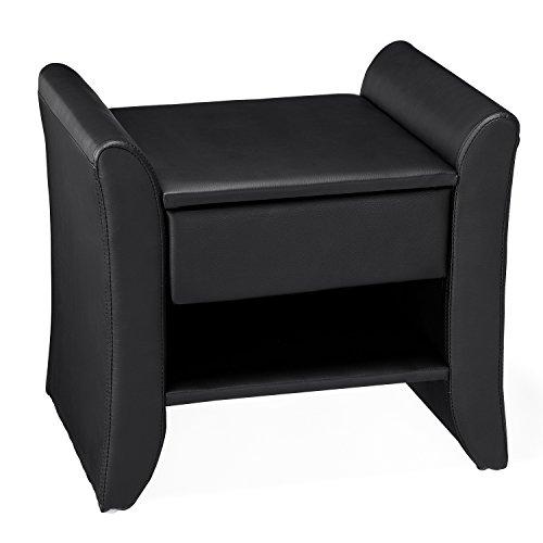 JFB L'Azvent : Table de Chevet en Simili Noir avec 1 tiroir et 1 étagère