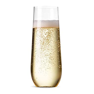 24 Pack Stemless Champagne Flutes ~ 9 Oz Clear Plastic Champagne Toasting Glasses ~ Shatterproof Recyclable and BPA-Free